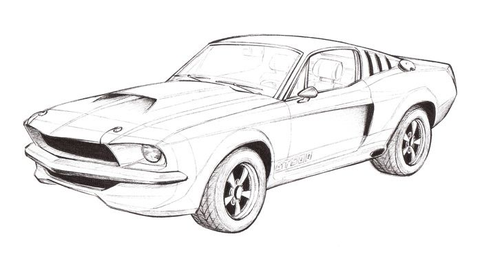 free coloring pages of gt500 mustang