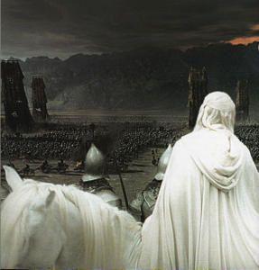 """Le """"Seigneur des anneaux"""" : Du haut de Minas Tirith la blanche, Gandalf le blanc, observe la progression des armées de Sauron..."""