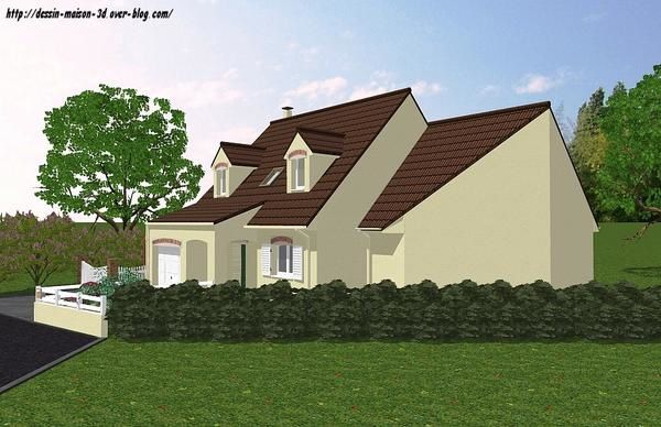 Extension d 39 un pavillon plan et dessin maison 3d for Exterieur maison 3d
