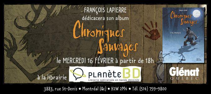 Invitation au lancement montréalais de Chroniques Sauvages