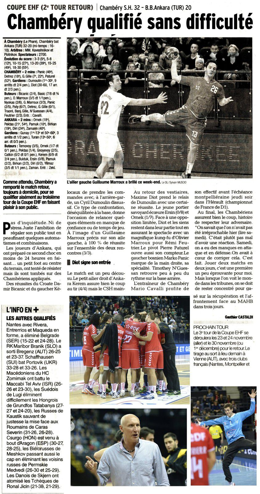 Article C EHF ANKARA CHAMBERY 20 10 2013 pour le site