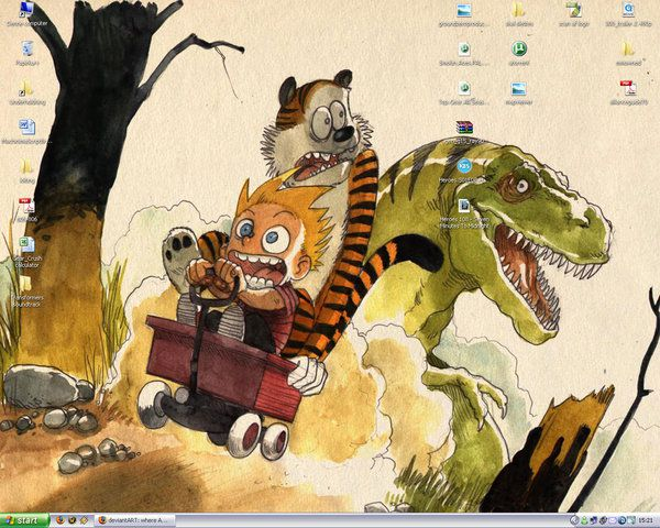 Calvin and Hobbes wallpaper boulet