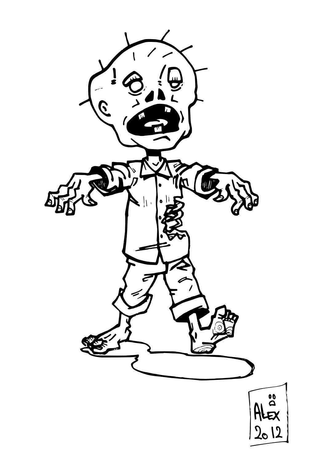 Little Zombie Coloring Pages