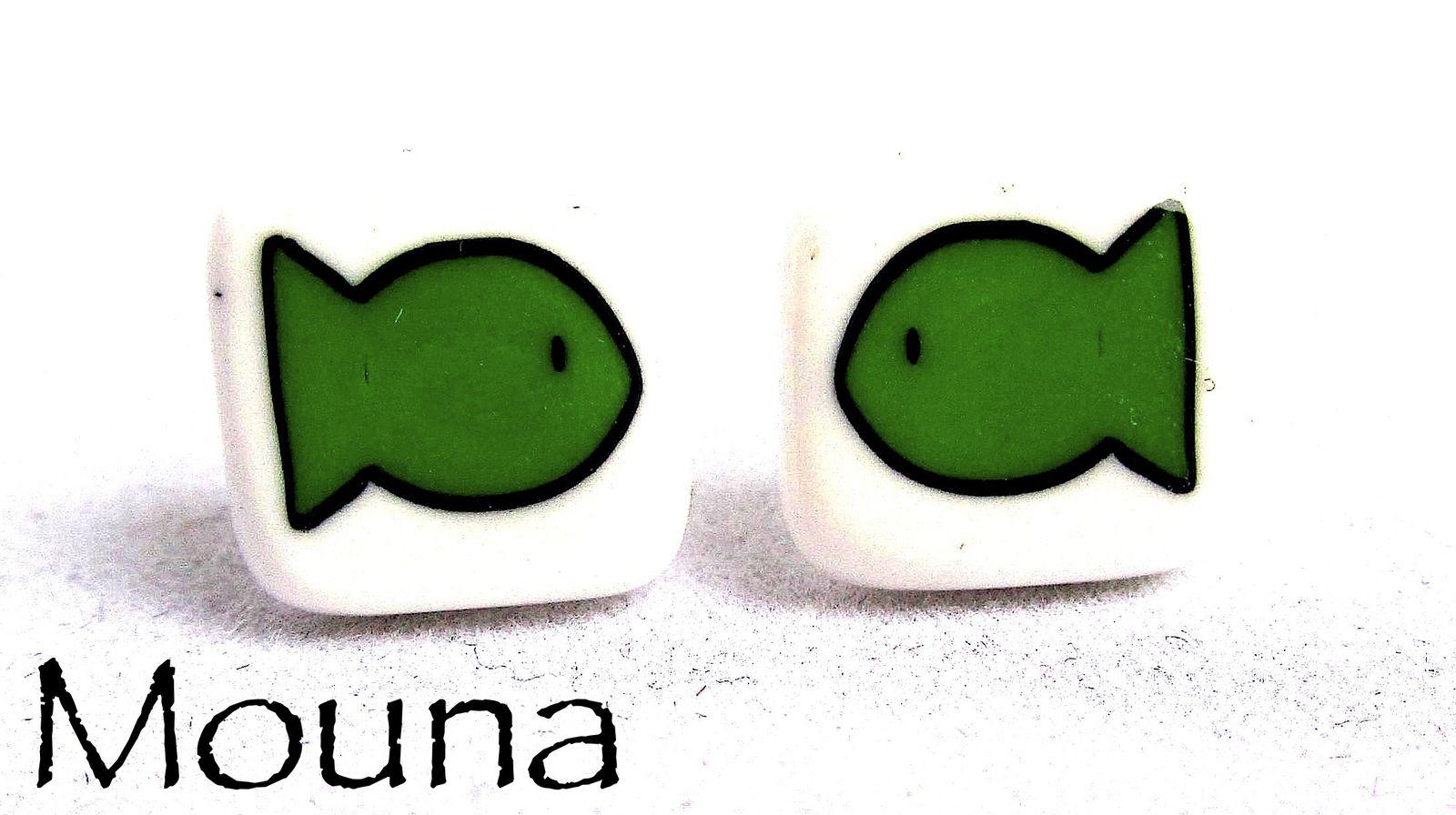 Tarifs: 7 à 9 euros/paire de boucles d'oreilles (pour connaître la disponibilité, cliquez sur la paire de boucles d'oreilles).