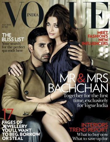 Aishwariya Rai et son mari Abhishek Bachchan font la couver