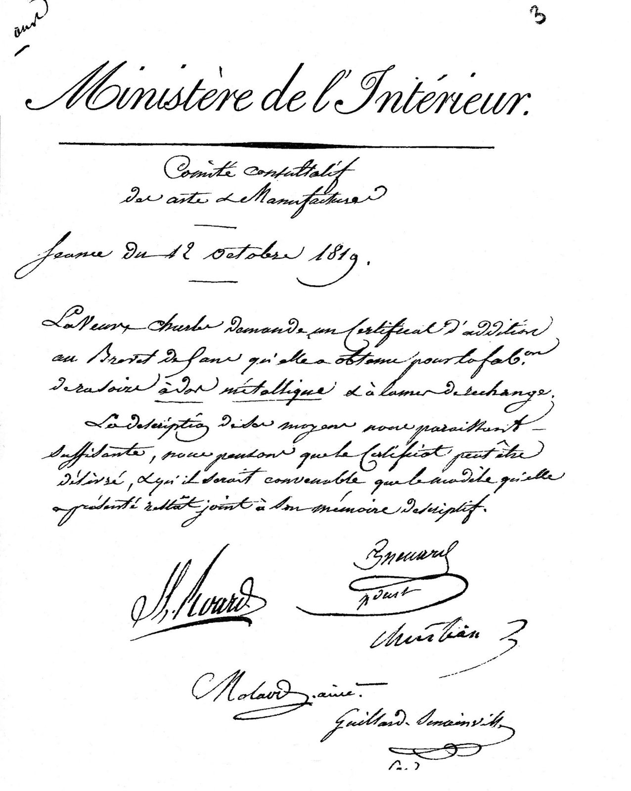 brevet charles 1 1819