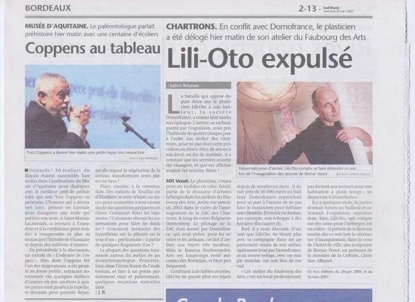 artiste plasticien: Lili-oto expulsé article de Julien Rousset journal Sud Ouest Bordeaux