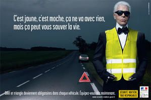 Karl Lagerfeld fait la pub du gilet + triangle
