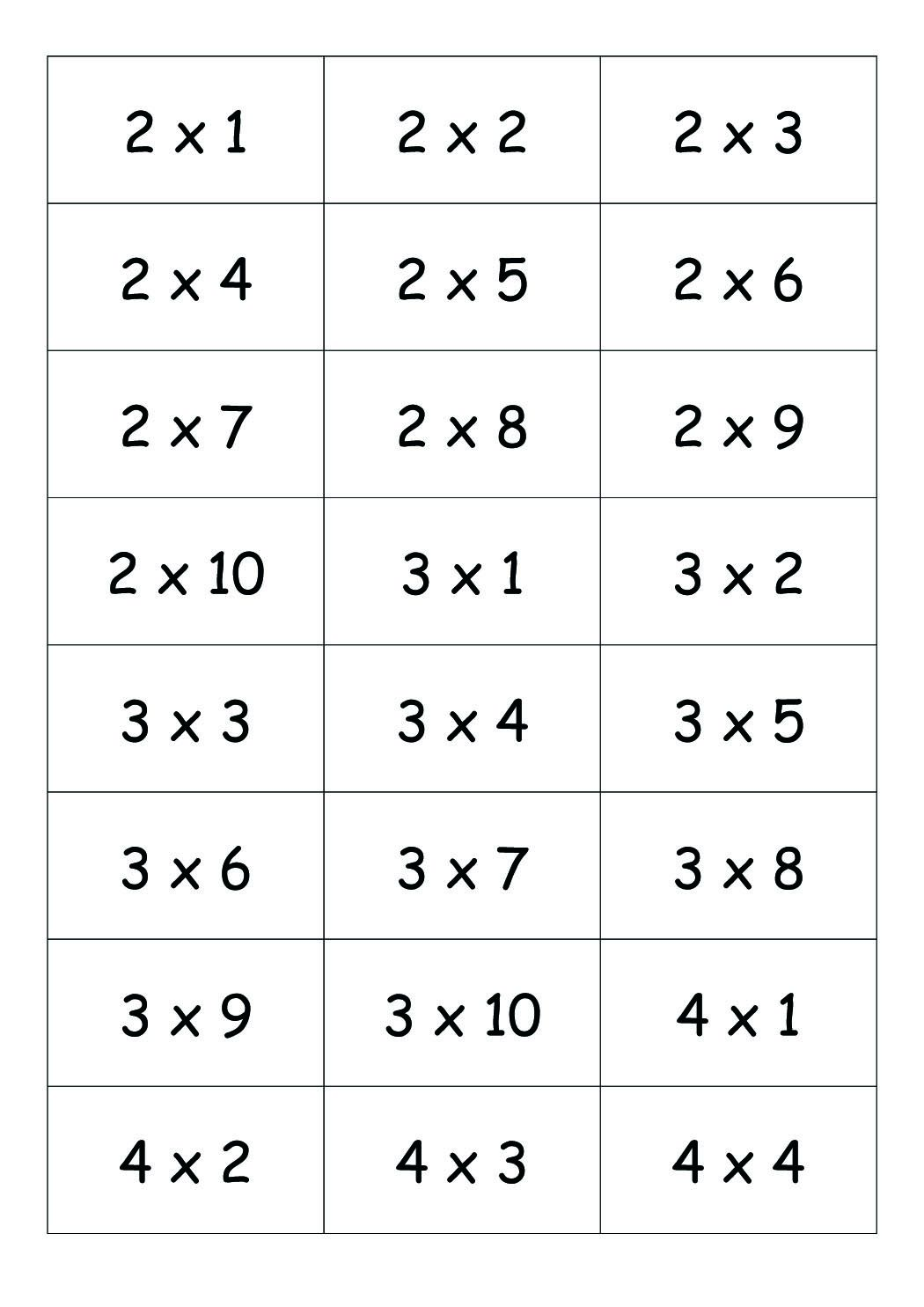 Exercice table de multiplication 2 3 4 5 jeu de for Table de multiplication de 2 a 5