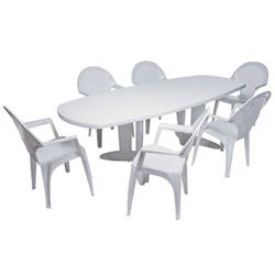 Emejing Table Salon De Jardin Pvc Blanc Photos - Amazing House ...