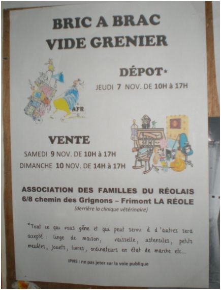 bric brac vide grenier la r ole 9 novembre 2013 pour. Black Bedroom Furniture Sets. Home Design Ideas