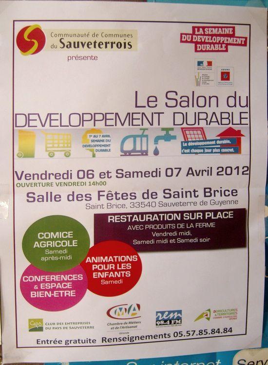 Salon d veloppement durable 6 7 avril sauveterre conte st brice 7 avril 2012 pour un - Salon developpement durable ...