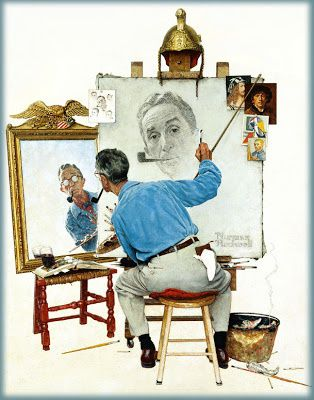 triple autoportrait Norman Rockwell 1960