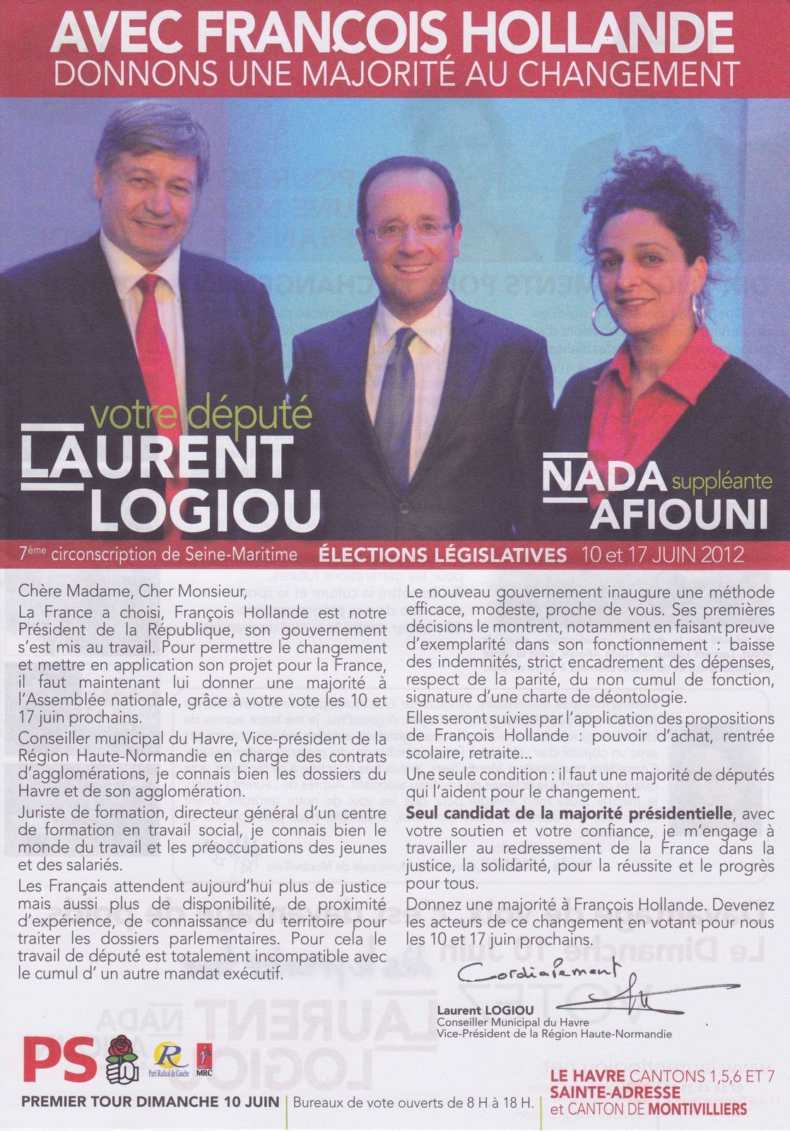 14 2012 Legislative 7eme Circon Laurent Logiou PS