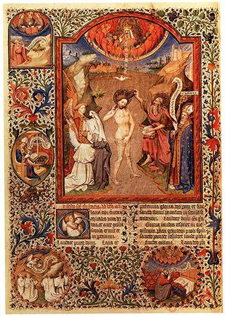 Maître de Bedford, Le Baptême du Christ, avec st Hilaire
