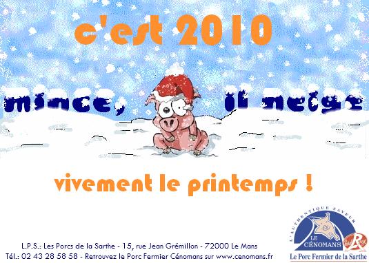 Voeux 2010 adressés par les Porcs Fermiers Cénomans Label Rouge