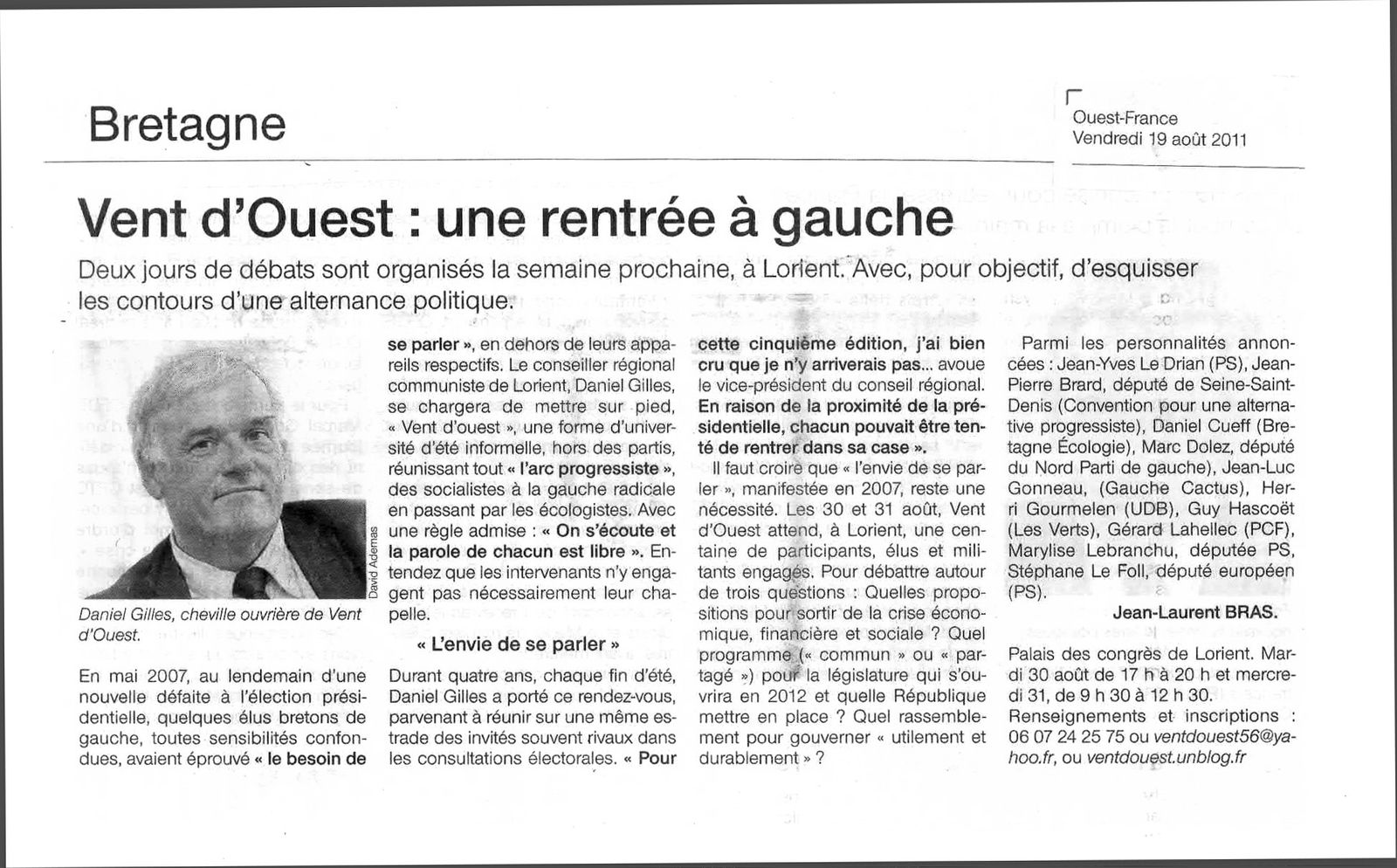 vent d 39 ouest 2011 article of du 19 ao t pr sident de l 39 association vent d 39 ouest. Black Bedroom Furniture Sets. Home Design Ideas