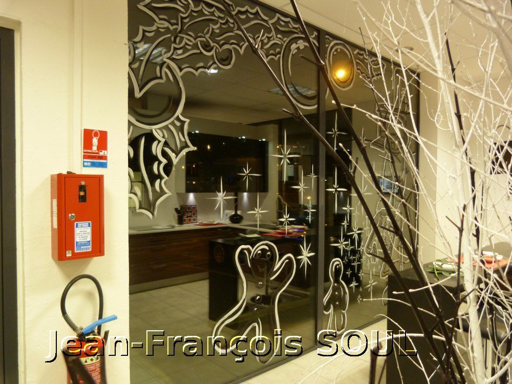 vitrine pere noel cuisine peinture vitrines la rochelle. Black Bedroom Furniture Sets. Home Design Ideas