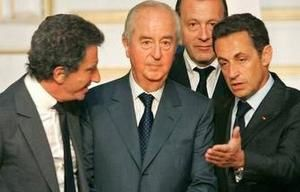 Jack Lang, Edouard Balladur de la commission sur la réforme des institutions et Nicolas Sarkozy