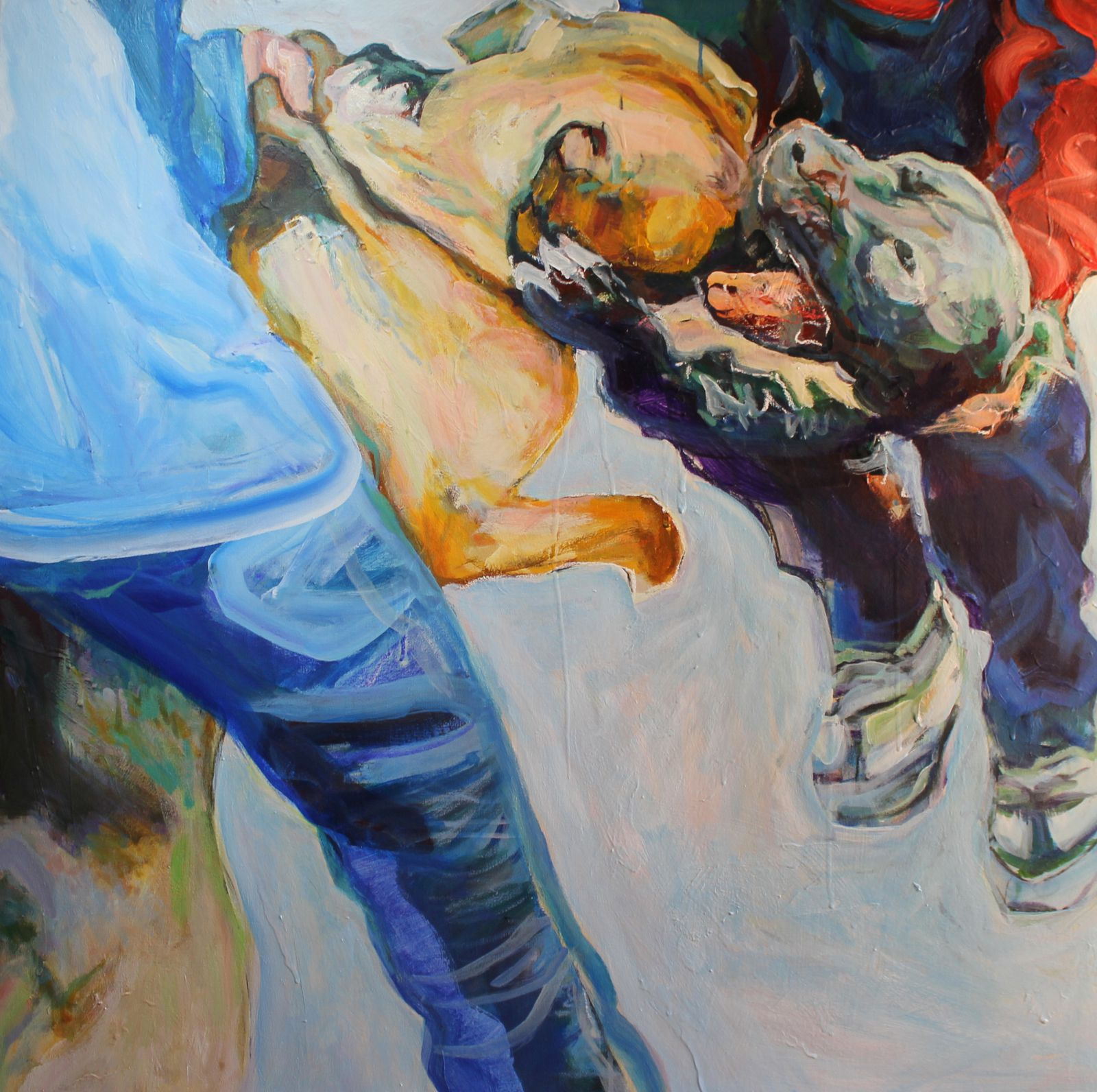 Dog fighting 3. 100X100cm. Acrylique sur toile. 2011. Collection Artothèque de Draguignan