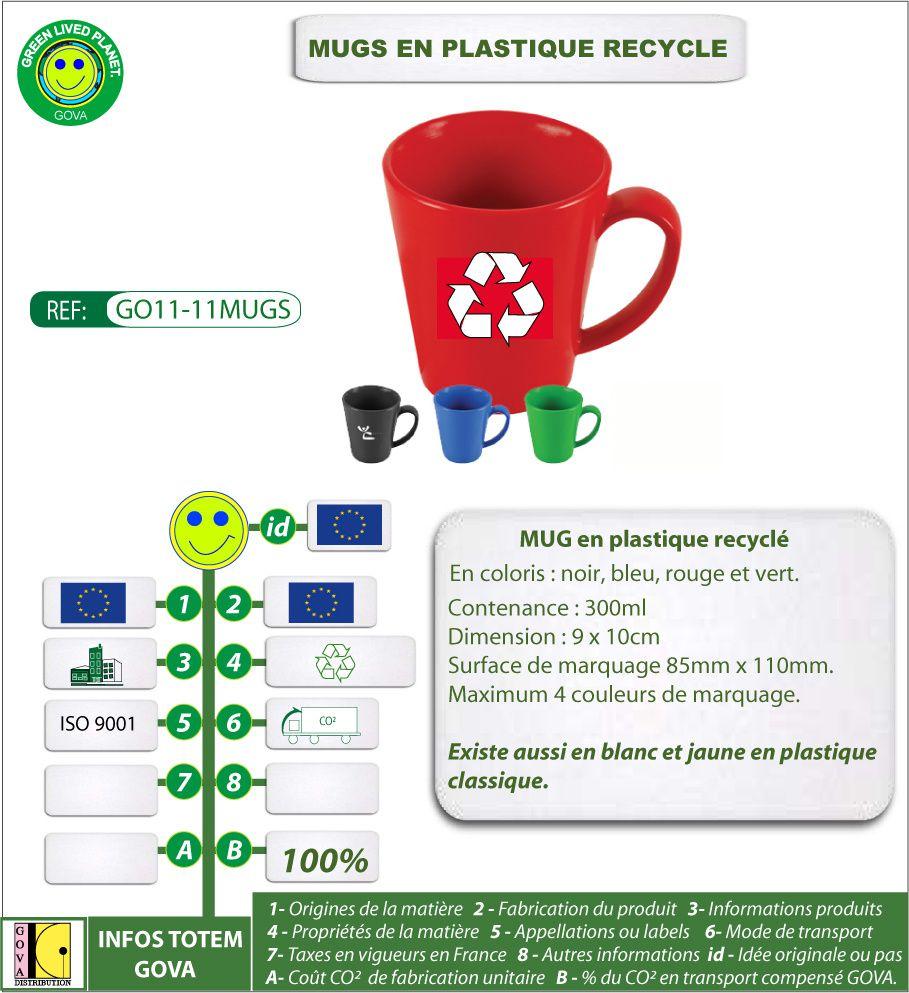 Collection de mugs en plastique recyclé, isothermes, avec double paroi, en métal ou en plastique
