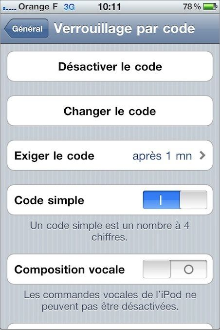 comment arreter le controle vocal iphone 4