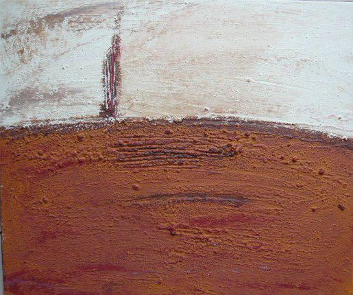 tableau contemporain collage sable terre utilisation gesso pigments naturels chassis bois relief matière couleurs naturelles vernis