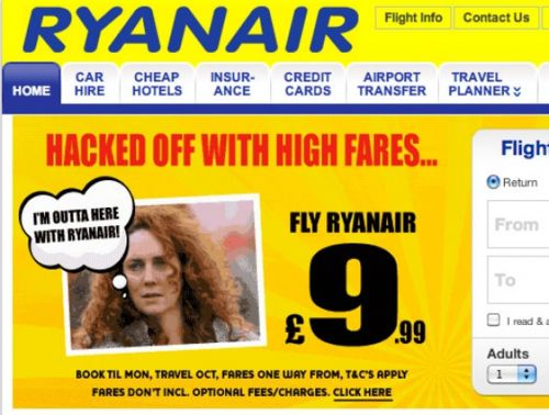Rebekah Brooks Ryanair ad banner News of the World