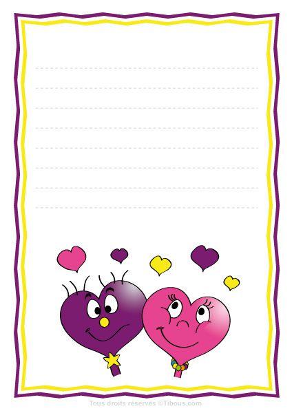 lettre st valentin,lettre saint valentin,papier à lettre,papier à lettres, lettre enfants,tibous,tibou