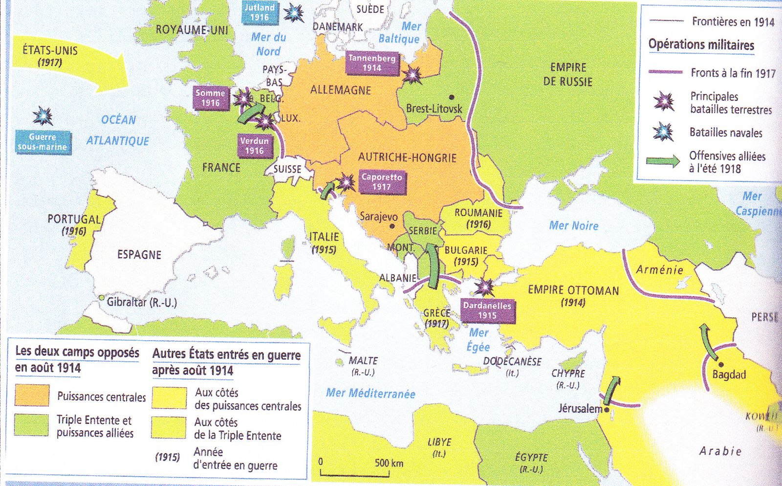 carte du monde de l 39 europe au cours de la premi re guerre mondiale. Black Bedroom Furniture Sets. Home Design Ideas