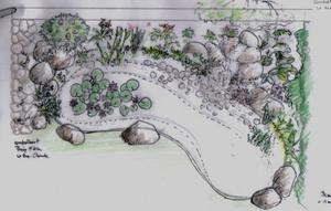 Bassin naturel avec petite cascade p pini re paysage for Photo de bassin de jardin avec cascade