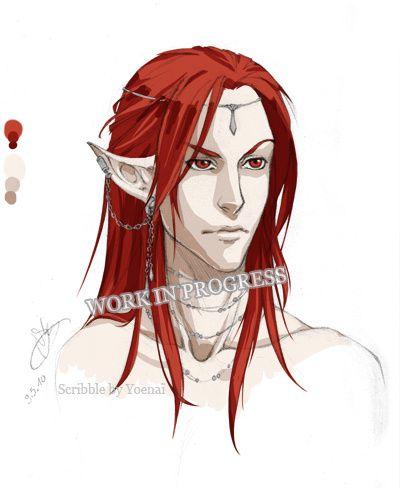 elf red hair wip by yoenai