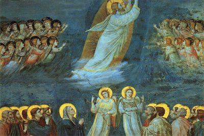 Après ces paroles, iIs virent Jésus s'élever et disparaître à leurs yeux dans une nuée.