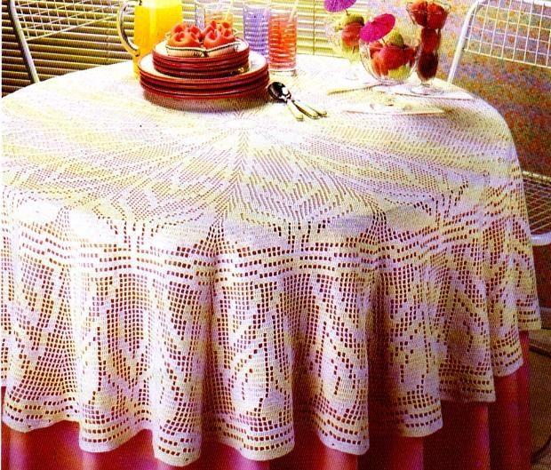 crochet la nappe ronde la boutique du tricot et des loisirs cr atifs. Black Bedroom Furniture Sets. Home Design Ideas