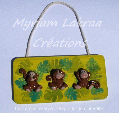 Les 3 singes - Petit tableau en bois et fimo