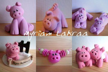Fimo : mes cochons - Myriam Lakraa Créations