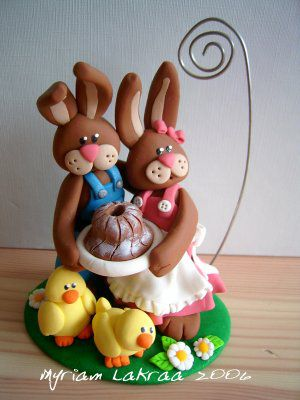 Fimo : couple de lapins et poussins, porte-photo - 2006 - Myriam Lakraa Créations