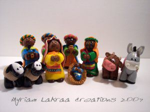 Myriam Lakraa Créations : crêche style indien, 2007 - Fimo