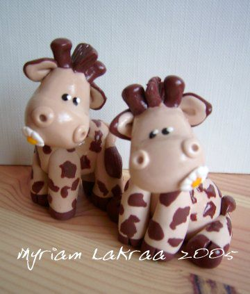 Fimo : girafes (2005) - Myriam Lakraa Créations