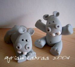 Fimo- Hippopotames (2004) - Myriam Lakraa Creations