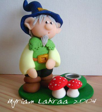 Fimo- Bougeoir lutin et champignons (2004) - Myriam Lakraa Créations