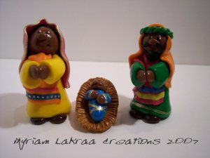 Myriam Lakraa Créations : sainte famille style indien, 2007 - Fimo