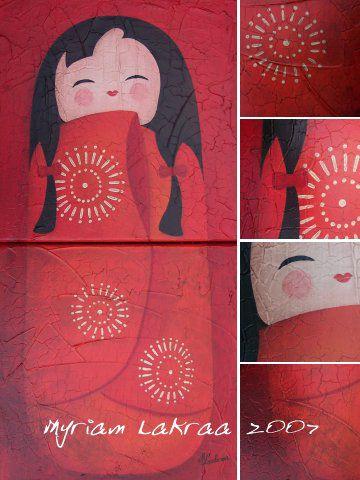 Kokeshi : Harmonie roue - 2007 - Myriam Lakraa Créations