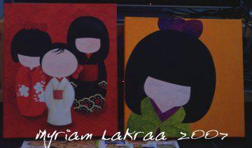Kokeshi : tableaux en cours - 2007 - Myriam Lakraa