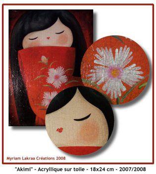 """Kokeshi : """"Akimi"""" (beauté printanière) - Acrylique sur toile - 18x24 cm - 2007/2008 - Myriam Lakraa"""