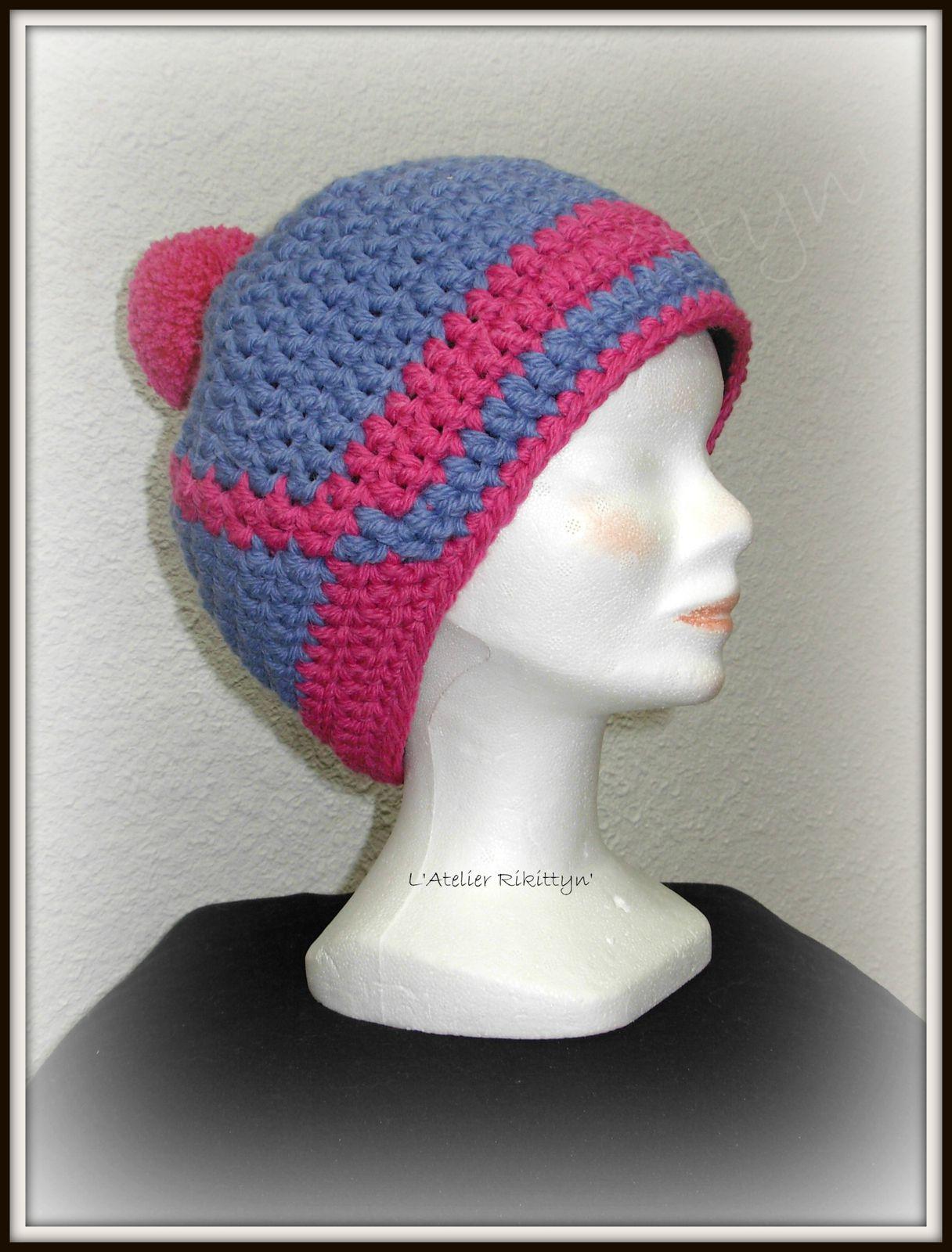 """2014.02.09 - Bonnets de ski """"I LOVE MY HAT"""" au crochet"""