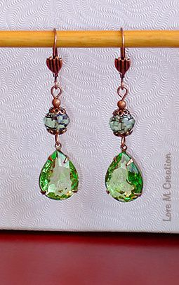 earrings, green cristal, boucles oreilles, cristal vert, bijou, nature, Lore M