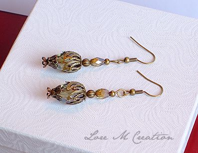 lantern earrings, boucles oreilles, lanternes, vintage, nature, bijou, Lore M