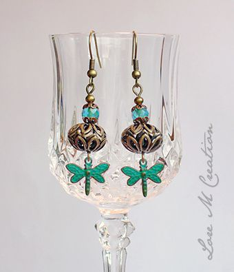 boucles oreilles, libellules, dragonflies earrings, Lore M, bijou