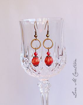 red and gold earring, boucles oreilles, rouge et or, bijou, Lore M